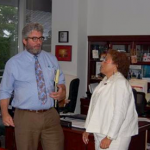 Shawn Boehringer, Chief Counsel, and Gina Polley, Chief Attorney, talk during his visit to the Montgomery County office in June.